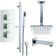 """Душевая система Boroy, 8"""" квадратный верхний душ, ручной душ, кран для ванны, термостат, скрытый монтаж"""