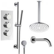 """Душевая система Boroy, 8"""" круглый верхний душ, ручной душ, кран для ванны, термостат, скрытый монтаж"""