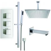 """Душевая система Boroy, 16"""" квадратный верхний душ, ручной душ, кран для ванны, термостат, скрытый монтаж"""