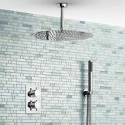 """Ультратонкий верхний душ 16"""" (40 см) """"тропический дождь"""", ручной душ, термостат"""