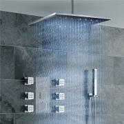 """Душевая панель Jonha, 16"""" душ тропический с LED-подсветкой, ручной душ, SPA-гидромассаж, термостат, скрытый монтаж"""