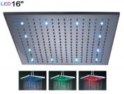 """Верхняя душевая панель """"тропический дождь"""" с LED-подсветкой, 16"""" (40 см), латунь"""