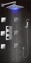 """Душевая система PuraVida L0076, 8"""" с термостатом и LED-подсветкой"""