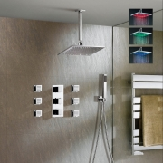 """Душевая панель Jonha, 8"""" LED-душ тропический, светодиодная подсветкой, ручной душ, СПА-гидромассаж, термостат, скрытый монтаж"""