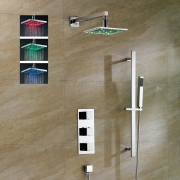 """Душевая система Sabie, 8"""" квадратный верхний душ с LED-подсветкой, ручной душ, термостат, скрытый монтаж"""