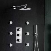 """Душевая панель Burude, 8"""" круглый верхний душ, ручной душ, гидромассаж, термостат, скрытый монтаж"""