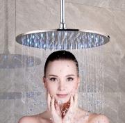 """Тропический душ с подсветкой и потолочным держателем, круглый, никель, диаметр 10/12/16"""" (25/30/40 см)"""