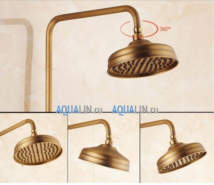 Античный душ, верхняя лейка 8, отделка латунь, ручной душ, викторианский стиль