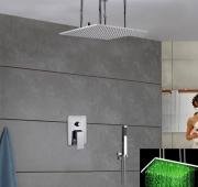 """Верхний душ """"тропический дождь"""" 20"""" (50 см) с подсветкой воды, ручной душ, отделка """"хром"""""""