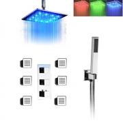 """Душевая система с """"тропическим дождём"""" с подсветкой воды, ручной душ, термостатический смеситель, гидромассаж, размер 20/25/30/40 см, скрытый монтаж"""