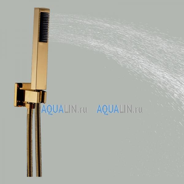 Душ тропический дождь-водопад, подсветка воды, отделка золото, термостатический смеситель, ручной душ