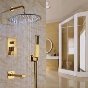 """Тропический душ 16"""" (40 см) с LED-подсветкой воды, отделка золото, термостат, ручной душ"""