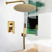 """Тропический душ 10"""" (25 см), отделка """"золото"""", термостатический смеситель, ручной душ"""