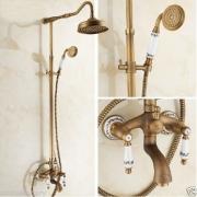 """Античный душ, верхняя лейка 8"""", отделка """"латунь"""", ручной душ, викторианский стиль"""