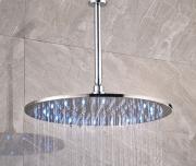 """Тропический душ с подсветкой и потолочным держателем, круглый, хром, диаметр 10/12/16"""" (25/30/40 см)"""