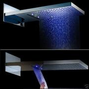 """Верхняя душевая панель """"тропический дождь"""", два режима, LED-подсветка, 3 цвета"""