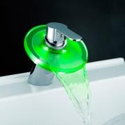 Смеситель-водопад для раковины с LED-подсветкой Murano стекляный A32471