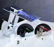 Смеситель-водопад с LED-подсветкой воды Plate 711 хром/никель сатинированный/чёрный
